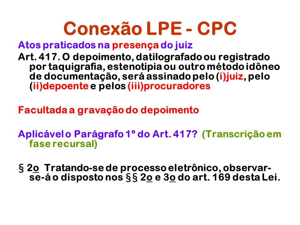 Conexão LPE - CPC Atos praticados na presença do juiz Art. 417. O depoimento, datilografado ou registrado por taquigrafia, estenotipia ou outro método
