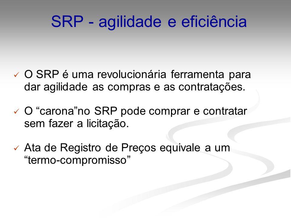 SRP - agilidade e eficiência O SRP é uma revolucionária ferramenta para dar agilidade as compras e as contratações. O caronano SRP pode comprar e cont