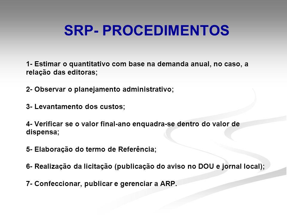 SRP- SRP- PROCEDIMENTOS 1- Estimar o quantitativo com base na demanda anual, no caso, a relação das editoras; 2- Observar o planejamento administrativ