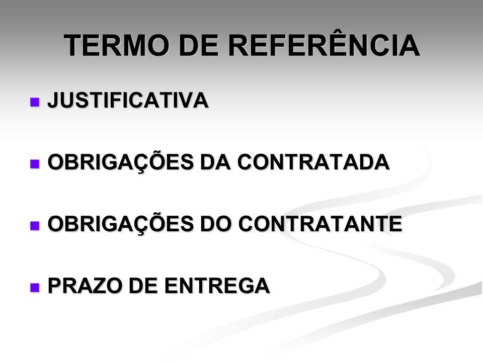 TERMO DE REFERÊNCIA JUSTIFICATIVA JUSTIFICATIVA OBRIGAÇÕES DA CONTRATADA OBRIGAÇÕES DA CONTRATADA OBRIGAÇÕES DO CONTRATANTE OBRIGAÇÕES DO CONTRATANTE