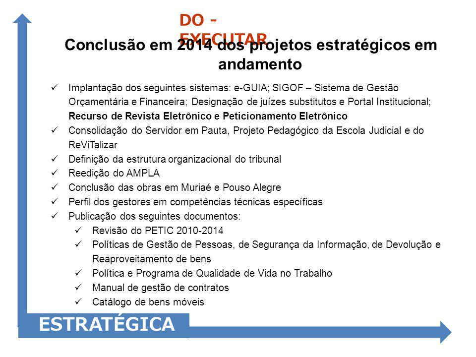 Implantação dos seguintes sistemas: e-GUIA; SIGOF – Sistema de Gestão Orçamentária e Financeira; Designação de juízes substitutos e Portal Institucion