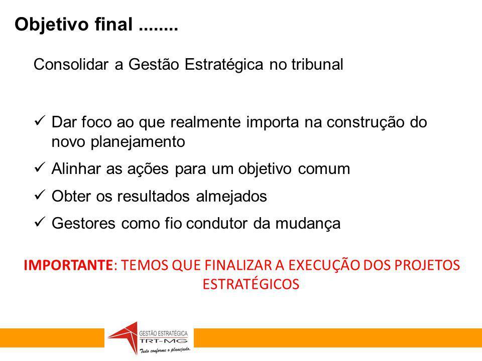 GESTÃO ESTRATÉGICA 2010-2014 Consolidar a Gestão Estratégica no tribunal Dar foco ao que realmente importa na construção do novo planejamento Alinhar