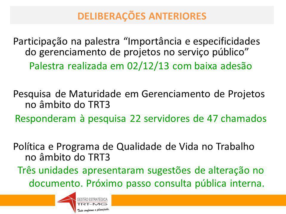 GESTÃO ESTRATÉGICA 2010-2014 DELIBERAÇÕES ANTERIORES Participação na palestra Importância e especificidades do gerenciamento de projetos no serviço pú