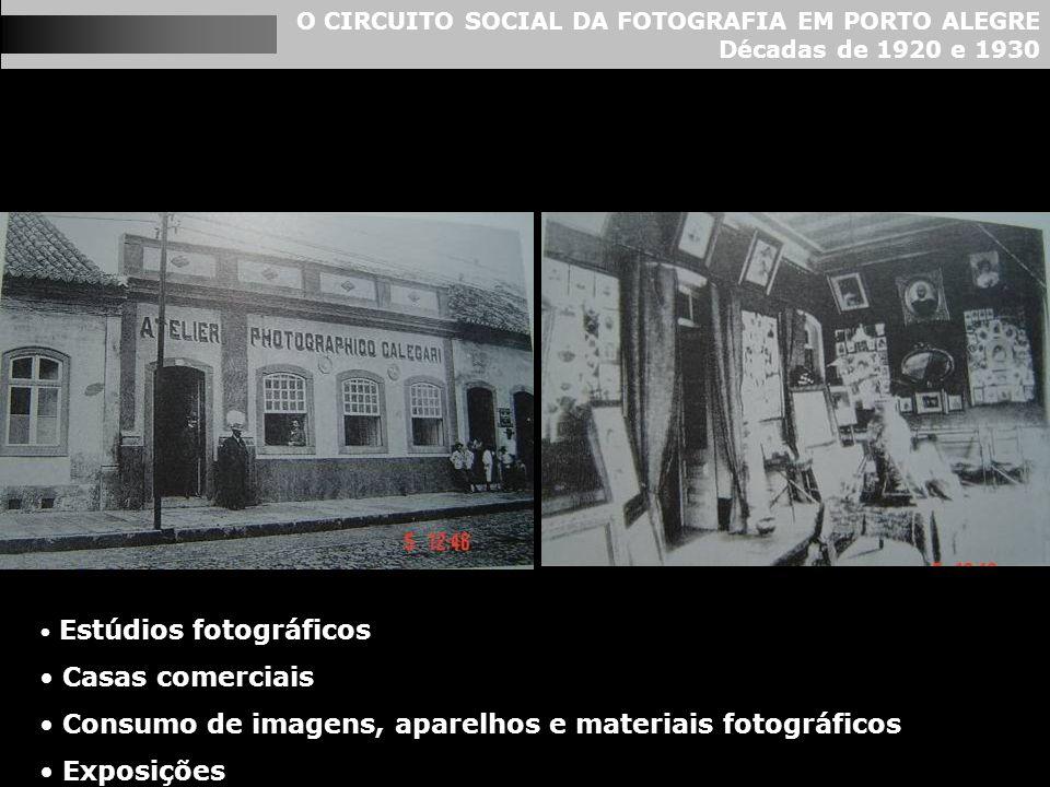 O CIRCUITO SOCIAL DA FOTOGRAFIA EM PORTO ALEGRE Décadas de 1920 e 1930 Estúdios fotográficos Casas comerciais Consumo de imagens, aparelhos e materiai