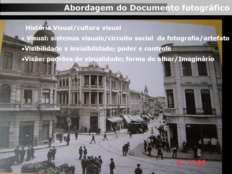 Abordagem do Documento fotográfico História Visual/cultura visual Visual: sistemas visuais/circuito social da fotografia/artefato Visibilidade x invis