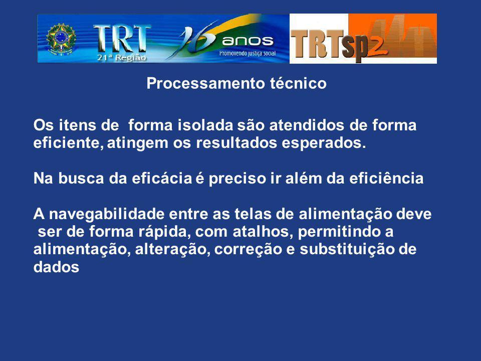 Processamento técnico Os itens de forma isolada são atendidos de forma eficiente, atingem os resultados esperados.