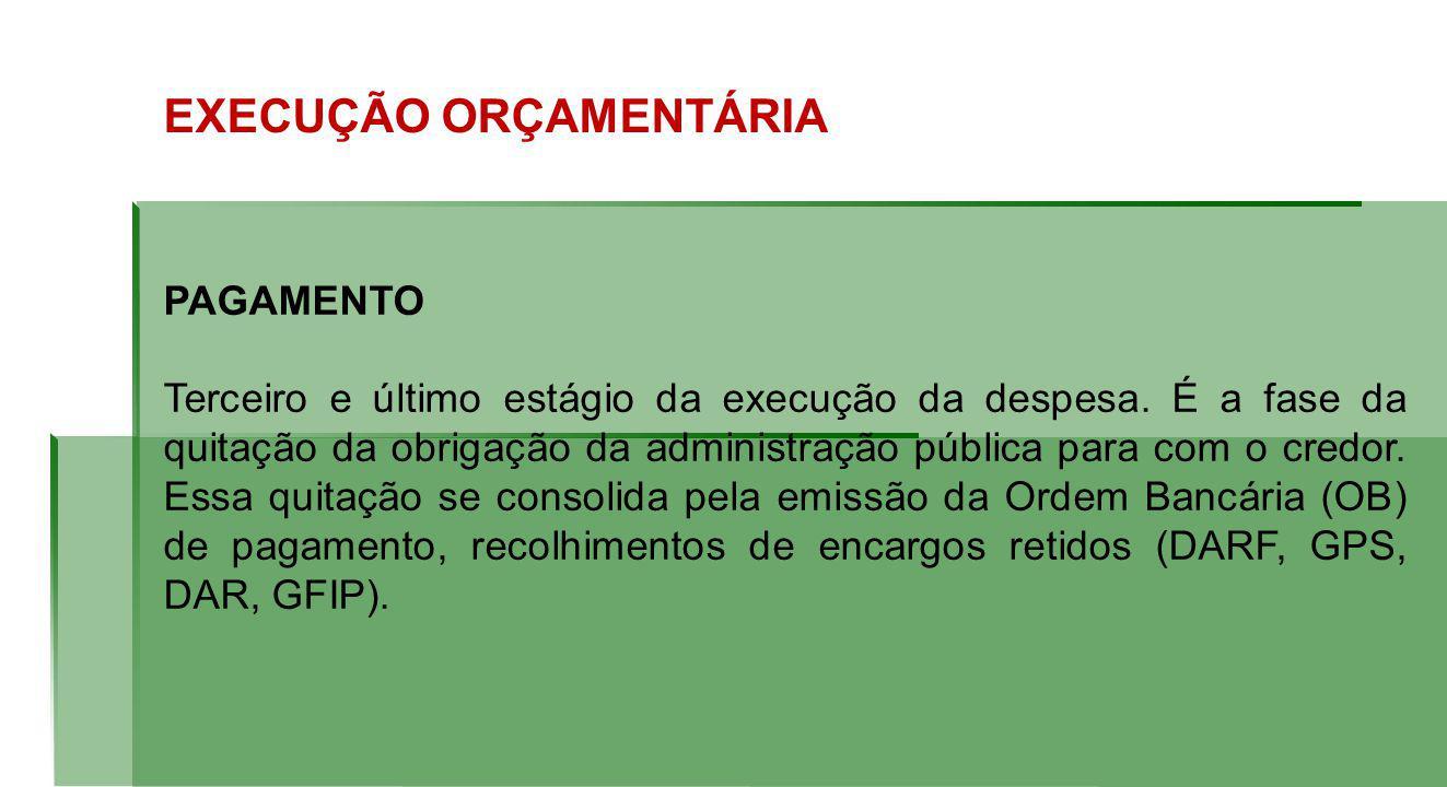 EXECUÇÃO ORÇAMENTÁRIA PAGAMENTO Terceiro e último estágio da execução da despesa.