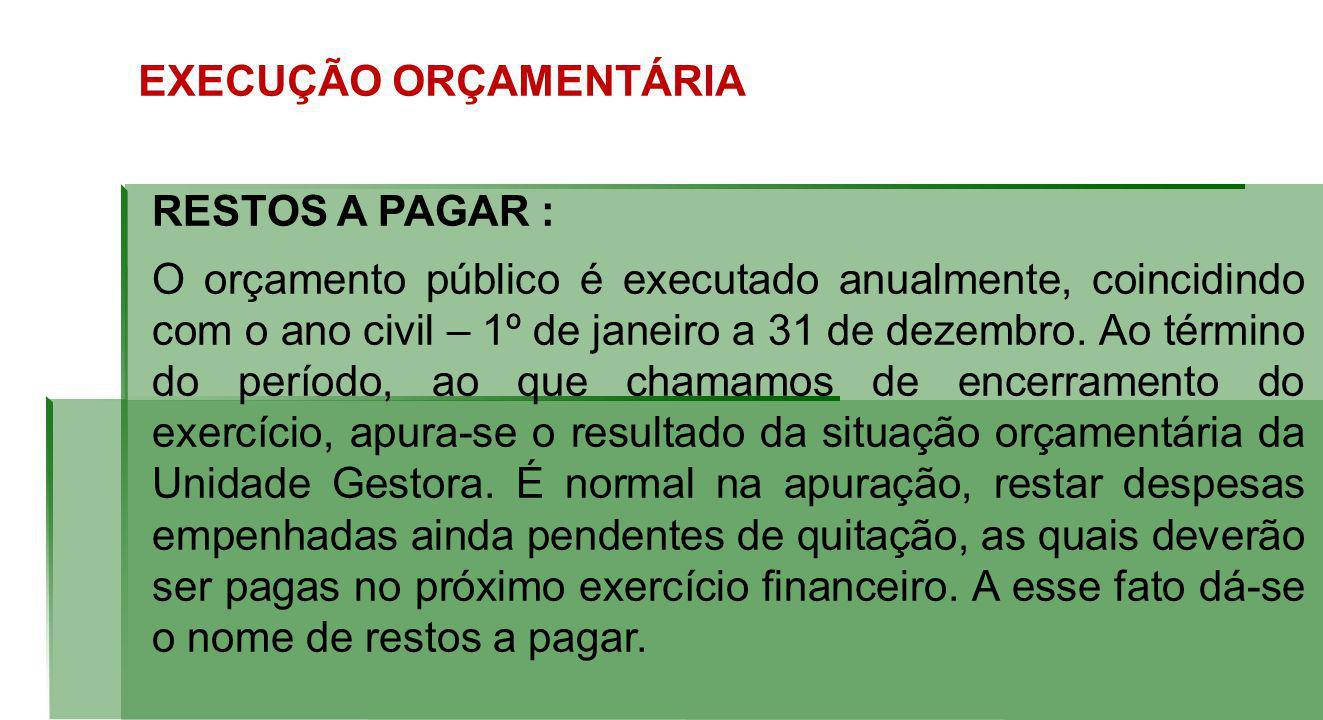 EXECUÇÃO ORÇAMENTÁRIA RESTOS A PAGAR : O orçamento público é executado anualmente, coincidindo com o ano civil – 1º de janeiro a 31 de dezembro.