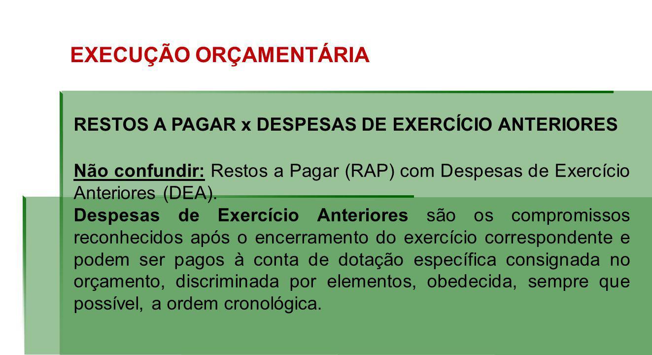 RESTOS A PAGAR x DESPESAS DE EXERCÍCIO ANTERIORES Não confundir: Restos a Pagar (RAP) com Despesas de Exercício Anteriores (DEA).