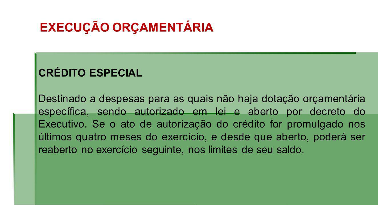 EXECUÇÃO ORÇAMENTÁRIA CRÉDITO ESPECIAL Destinado a despesas para as quais não haja dotação orçamentária específica, sendo autorizado em lei e aberto por decreto do Executivo.
