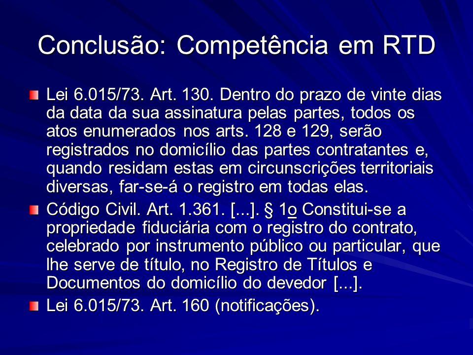 Conclusão: Competência em RTD Lei 6.015/73. Art. 130. Dentro do prazo de vinte dias da data da sua assinatura pelas partes, todos os atos enumerados n