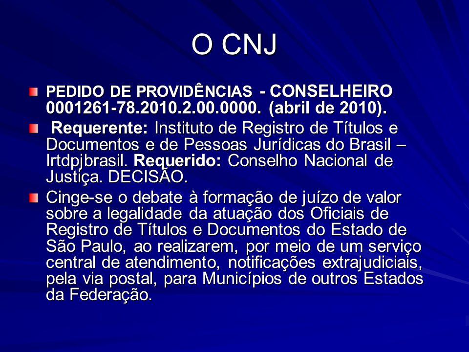O CNJ PEDIDO DE PROVIDÊNCIAS - CONSELHEIRO 0001261-78.2010.2.00.0000. (abril de 2010). Requerente: Instituto de Registro de Títulos e Documentos e de
