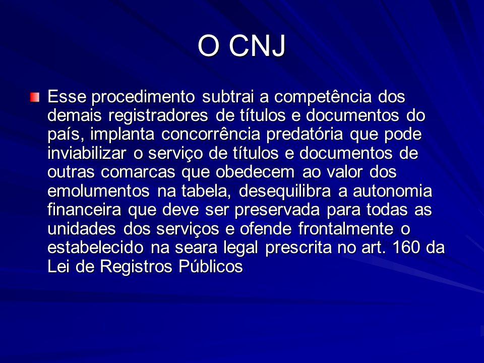 O CNJ Esse procedimento subtrai a competência dos demais registradores de títulos e documentos do país, implanta concorrência predatória que pode invi