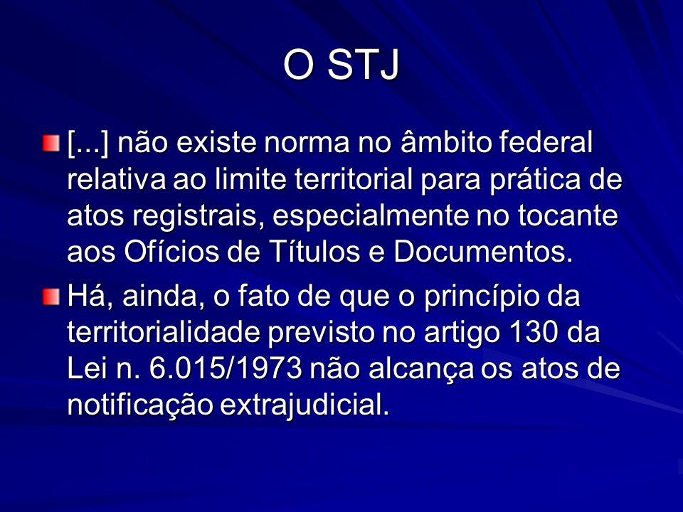 O STJ [...] não existe norma no âmbito federal relativa ao limite territorial para prática de atos registrais, especialmente no tocante aos Ofícios de