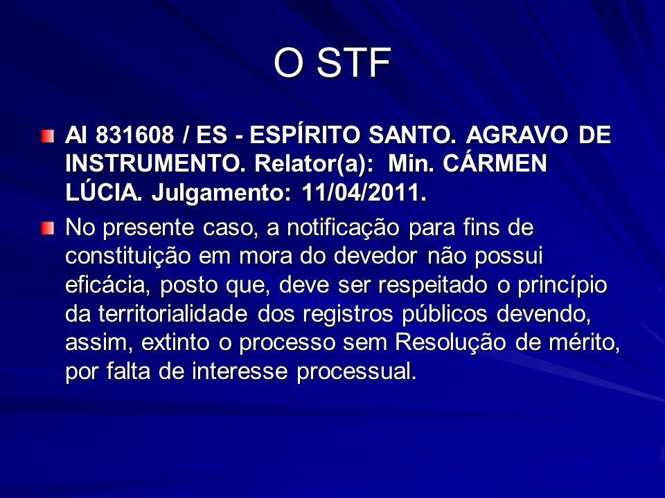 O STF AI 831608 / ES - ESPÍRITO SANTO. AGRAVO DE INSTRUMENTO. Relator(a): Min. CÁRMEN LÚCIA. Julgamento: 11/04/2011. No presente caso, a notificação p