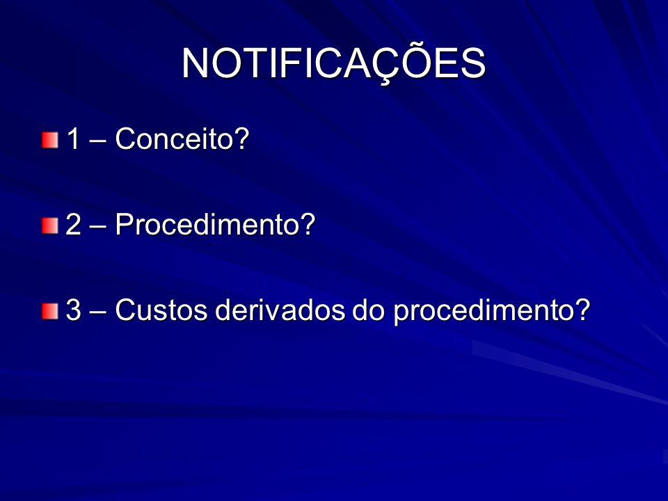 NOTIFICAÇÕES 1 – Conceito? 2 – Procedimento? 3 – Custos derivados do procedimento?