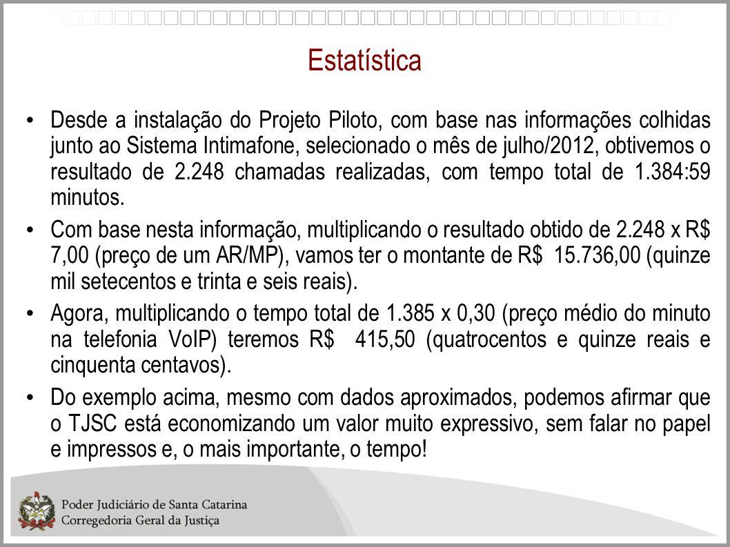 Estatística Desde a instalação do Projeto Piloto, com base nas informações colhidas junto ao Sistema Intimafone, selecionado o mês de julho/2012, obti