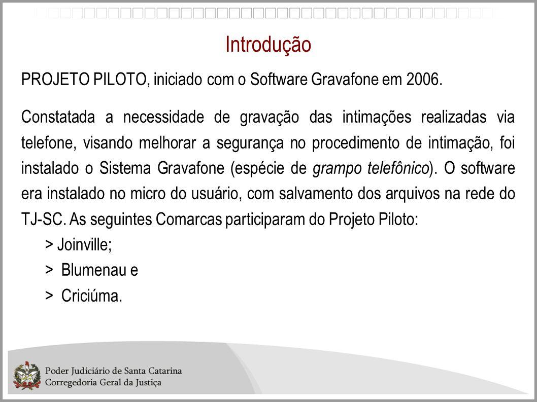 Introdução PROJETO PILOTO, iniciado com o Software Gravafone em 2006. Constatada a necessidade de gravação das intimações realizadas via telefone, vis