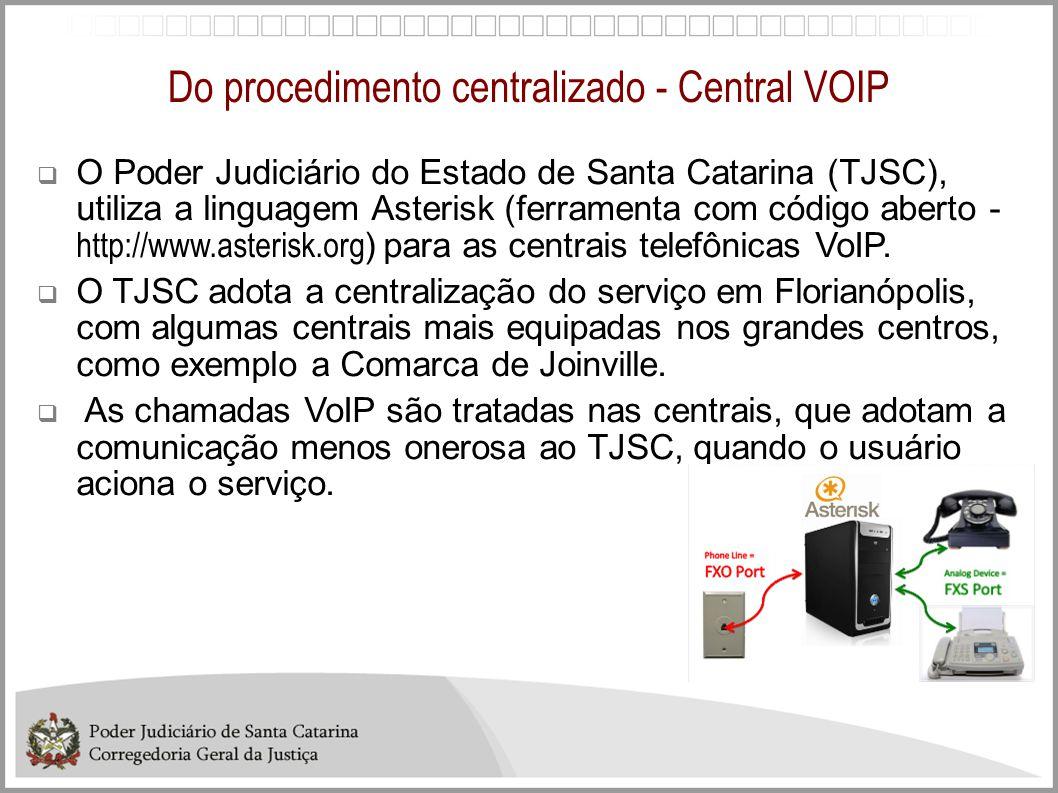 Do procedimento centralizado - Central VOIP O Poder Judiciário do Estado de Santa Catarina (TJSC), utiliza a linguagem Asterisk (ferramenta com código
