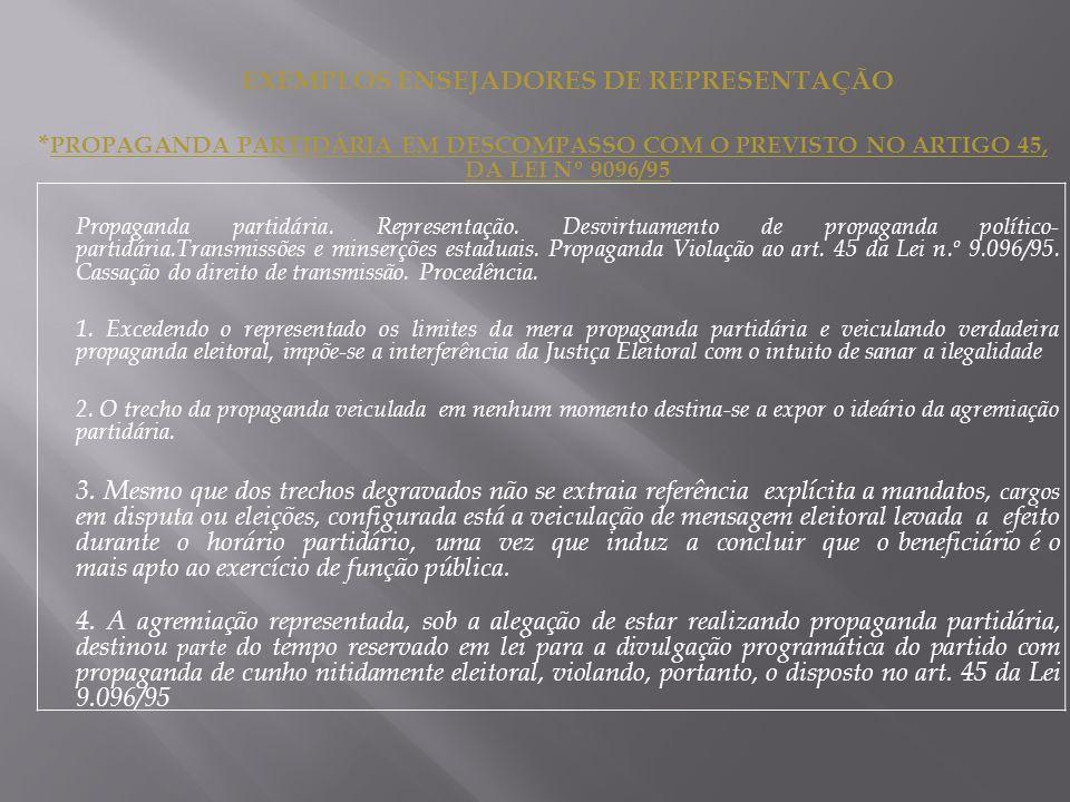 EXEMPLOS ENSEJADORES DE REPRESENTAÇÃO * PROPAGANDA PARTIDÁRIA EM DESCOMPASSO COM O PREVISTO NO ARTIGO 45, DA LEI Nº 9096/95 Propaganda partidária.