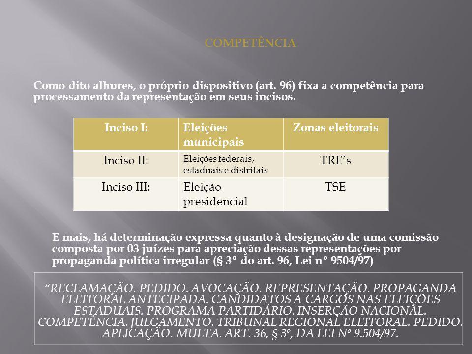 COMPETÊNCIA Como dito alhures, o próprio dispositivo (art. 96) fixa a competência para processamento da representação em seus incisos. E mais, há dete