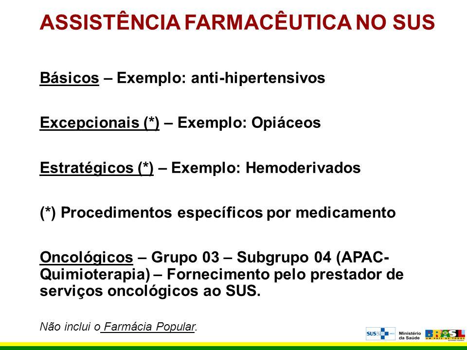 ASSISTÊNCIA FARMACÊUTICA NO SUS Básicos – Exemplo: anti-hipertensivos Excepcionais (*) – Exemplo: Opiáceos Estratégicos (*) – Exemplo: Hemoderivados (