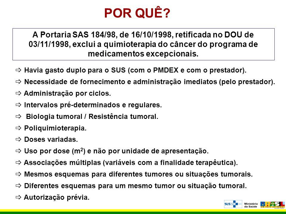 POR QUÊ? A Portaria SAS 184/98, de 16/10/1998, retificada no DOU de 03/11/1998, exclui a quimioterapia do câncer do programa de medicamentos excepcion