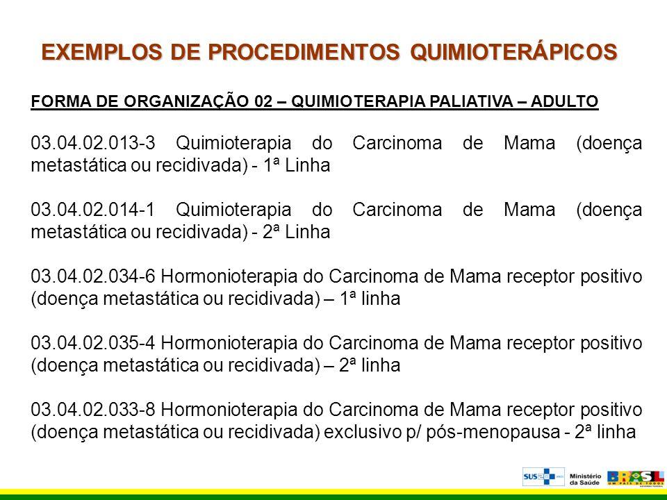 EXEMPLOS DE PROCEDIMENTOS QUIMIOTERÁPICOS FORMA DE ORGANIZAÇÃO 02 – QUIMIOTERAPIA PALIATIVA – ADULTO 03.04.02.013-3 Quimioterapia do Carcinoma de Mama