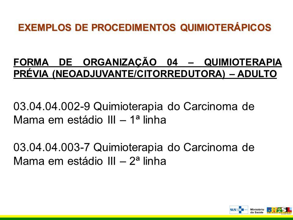EXEMPLOS DE PROCEDIMENTOS QUIMIOTERÁPICOS FORMA DE ORGANIZAÇÃO 04 – QUIMIOTERAPIA PRÉVIA (NEOADJUVANTE/CITORREDUTORA) – ADULTO 03.04.04.002-9 Quimiote