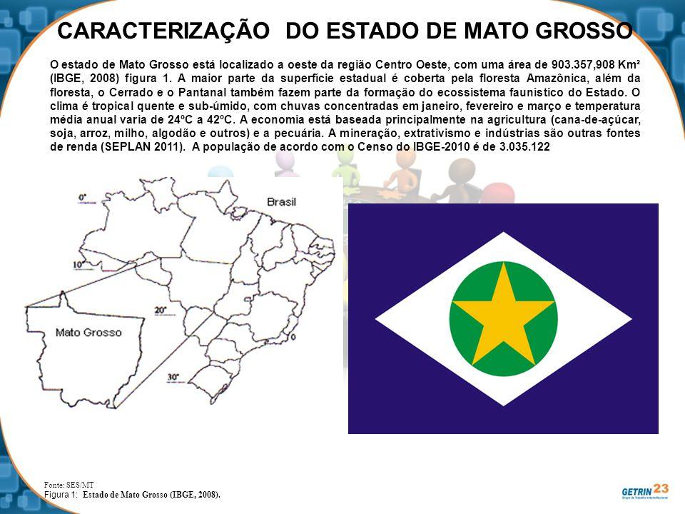 CARACTERIZAÇÃO DO ESTADO DE MATO GROSSO O estado de Mato Grosso está localizado a oeste da região Centro Oeste, com uma área de 903.357,908 Km² (IBGE,