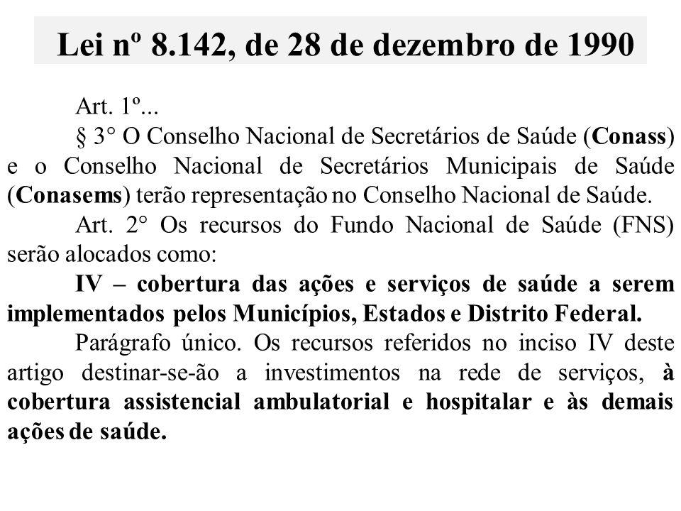 Art. 1º... § 3° O Conselho Nacional de Secretários de Saúde (Conass) e o Conselho Nacional de Secretários Municipais de Saúde (Conasems) terão represe