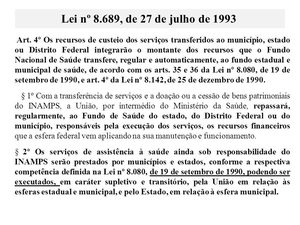 Art. 4º Os recursos de custeio dos serviços transferidos ao município, estado ou Distrito Federal integrarão o montante dos recursos que o Fundo Nacio