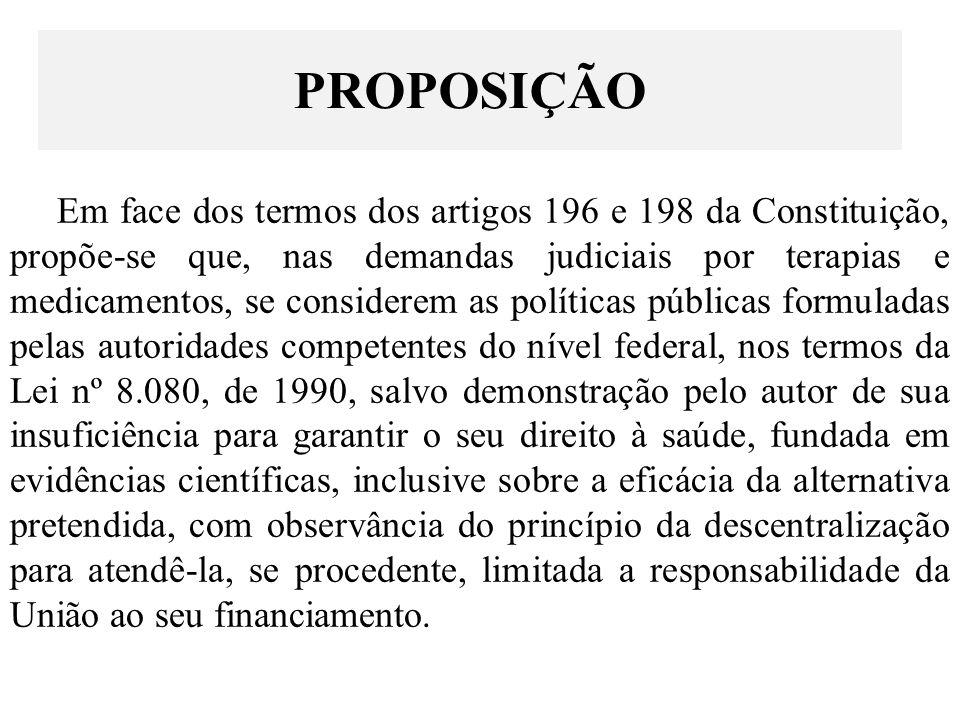 Em face dos termos dos artigos 196 e 198 da Constituição, propõe-se que, nas demandas judiciais por terapias e medicamentos, se considerem as política