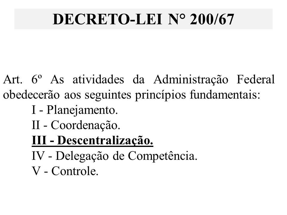 Art. 6º As atividades da Administração Federal obedecerão aos seguintes princípios fundamentais: I - Planejamento. II - Coordenação. III - Descentrali