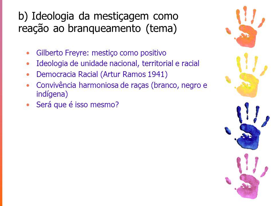 c) Projeto UNESCO (tema) Brasil como modelo para superação do racismo pós 2a Guerra Mundial Roger Bastide, Florestan Fernandes, Luis da Costa Pinto, Fernando Henrique Cardoso, Oracy Nogueira, Octavio Ianni e outros...