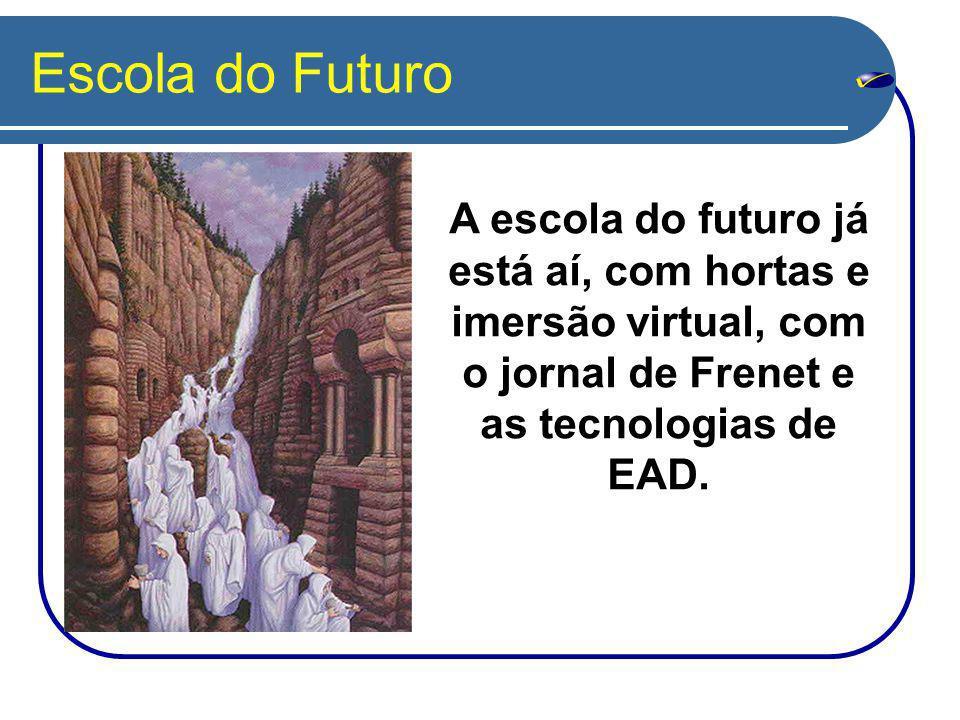 Escola do Futuro A escola do futuro já está aí, com hortas e imersão virtual, com o jornal de Frenet e as tecnologias de EAD.
