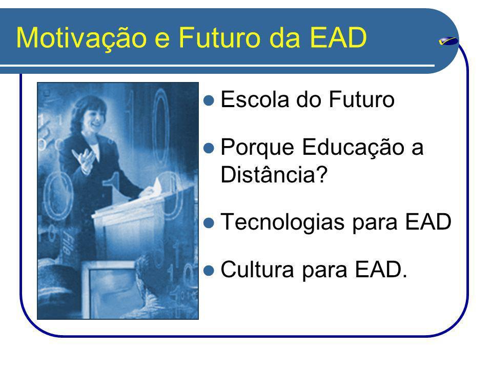 Motivação e Futuro da EAD Escola do Futuro Porque Educação a Distância.