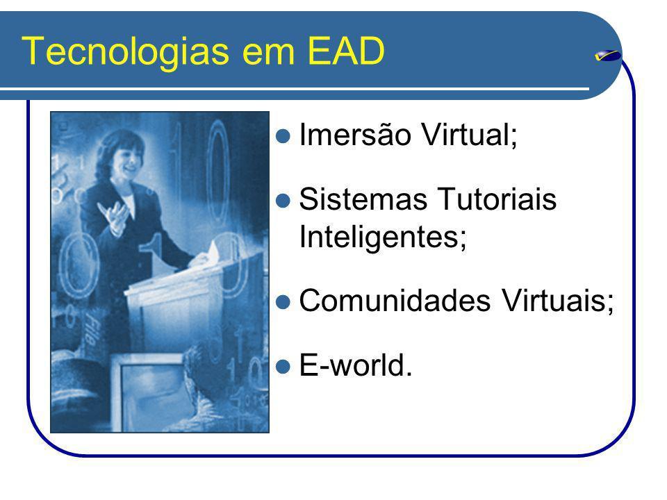 Tecnologias em EAD Imersão Virtual; Sistemas Tutoriais Inteligentes; Comunidades Virtuais; E-world.