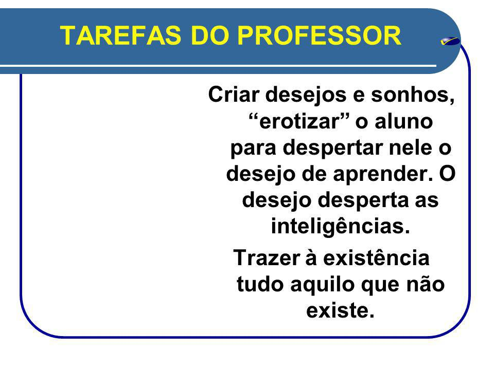 TAREFAS DO PROFESSOR Criar desejos e sonhos, erotizar o aluno para despertar nele o desejo de aprender.