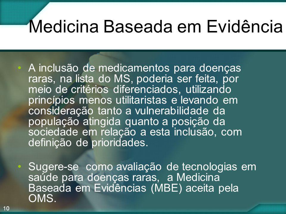 10 Medicina Baseada em Evidência A inclusão de medicamentos para doenças raras, na lista do MS, poderia ser feita, por meio de critérios diferenciados