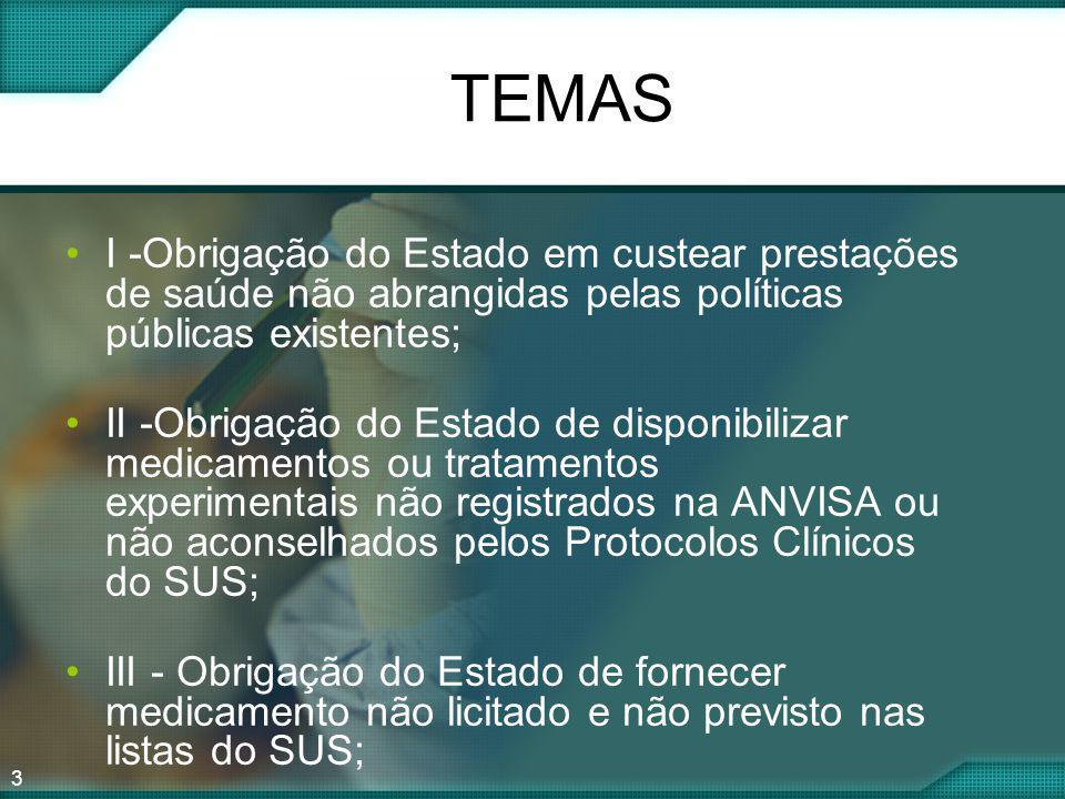 3 TEMAS I -Obrigação do Estado em custear prestações de saúde não abrangidas pelas políticas públicas existentes; II -Obrigação do Estado de disponibi