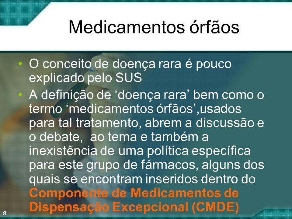 8 Medicamentos órfãos O conceito de doença rara é pouco explicado pelo SUS A definição de doença rara bem como o termo medicamentos órfãos,usados para