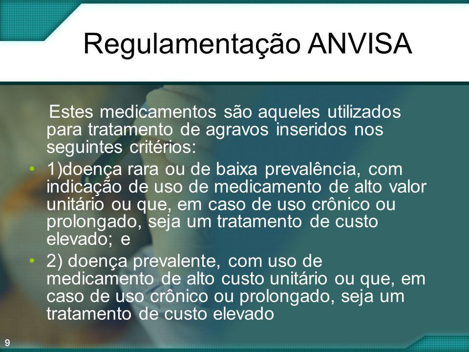 9 Regulamentação ANVISA Estes medicamentos são aqueles utilizados para tratamento de agravos inseridos nos seguintes critérios: 1)doença rara ou de ba