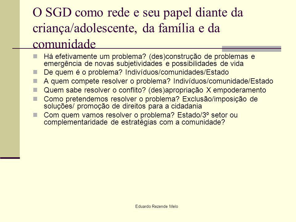 Eduardo Rezende Melo O SGD como rede e seu papel diante da criança/adolescente, da família e da comunidade Há efetivamente um problema? (des)construçã