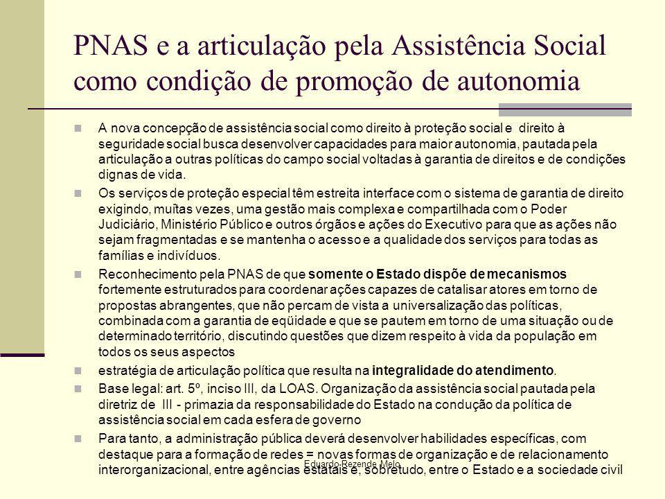 PNAS e a articulação pela Assistência Social como condição de promoção de autonomia A nova concepção de assistência social como direito à proteção soc
