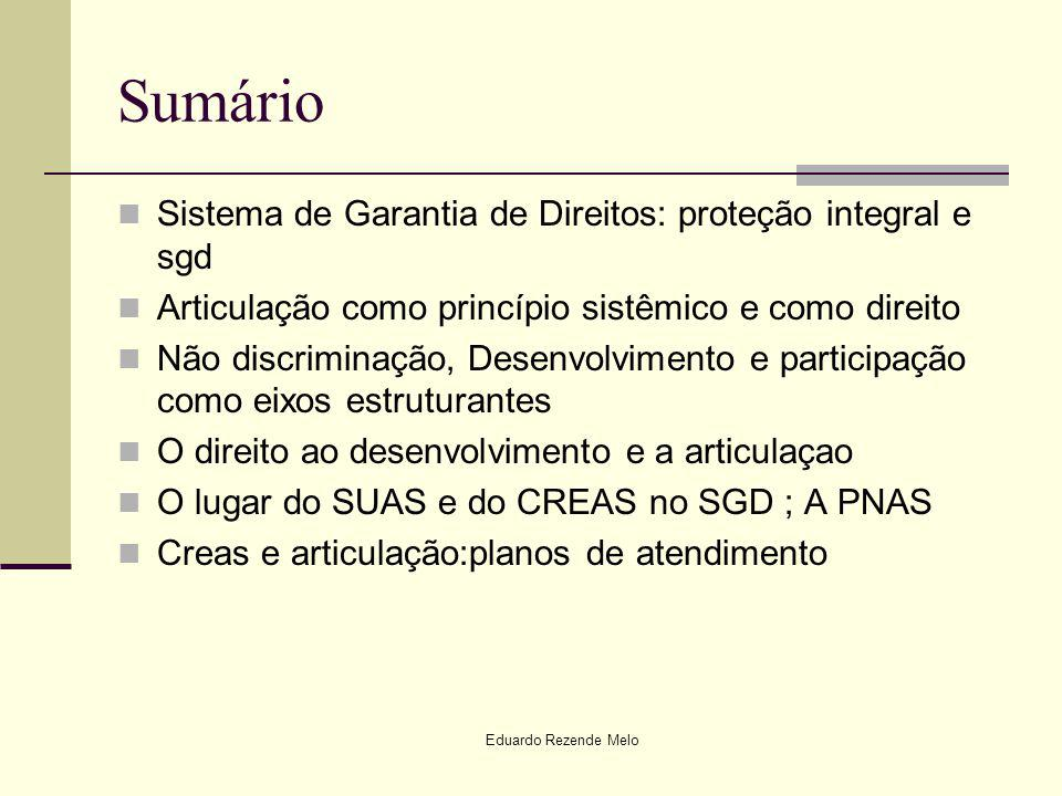 Sumário Sistema de Garantia de Direitos: proteção integral e sgd Articulação como princípio sistêmico e como direito Não discriminação, Desenvolviment