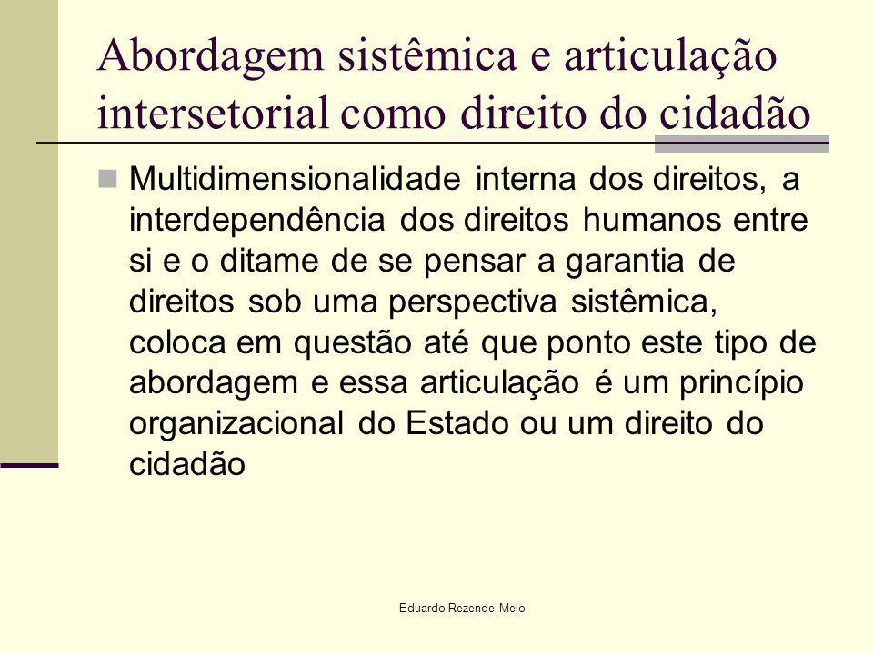 Abordagem sistêmica e articulação intersetorial como direito do cidadão Multidimensionalidade interna dos direitos, a interdependência dos direitos hu