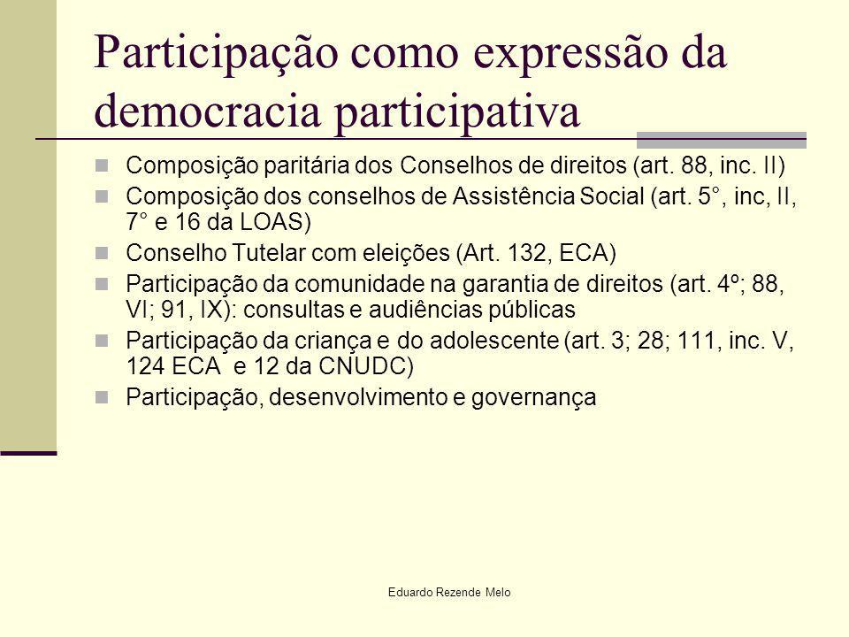 Participação como expressão da democracia participativa Composição paritária dos Conselhos de direitos (art. 88, inc. II) Composição dos conselhos de