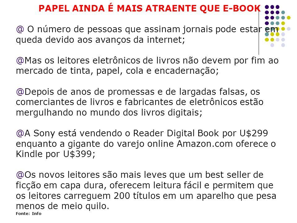 PAPEL AINDA É MAIS ATRAENTE QUE E-BOOK @ O número de pessoas que assinam jornais pode estar em queda devido aos avanços da internet; @Mas os leitores eletrônicos de livros não devem por fim ao mercado de tinta, papel, cola e encadernação; @Depois de anos de promessas e de largadas falsas, os comerciantes de livros e fabricantes de eletrônicos estão mergulhando no mundo dos livros digitais; @A Sony está vendendo o Reader Digital Book por U$299 enquanto a gigante do varejo online Amazon.com oferece o Kindle por U$399; @Os novos leitores são mais leves que um best seller de ficção em capa dura, oferecem leitura fácil e permitem que os leitores carreguem 200 títulos em um aparelho que pesa menos de meio quilo.