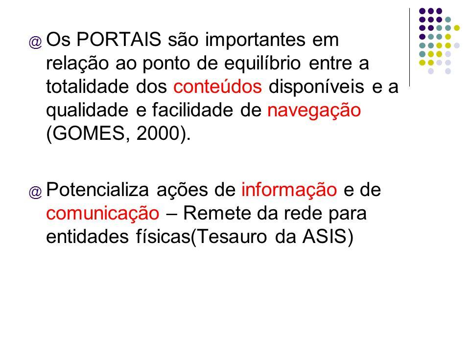 @ Os PORTAIS são importantes em relação ao ponto de equilíbrio entre a totalidade dos conteúdos disponíveis e a qualidade e facilidade de navegação (G
